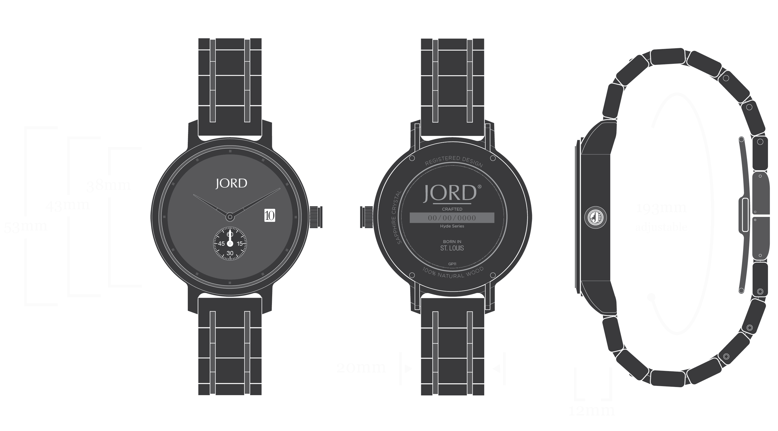 Hyde - Ebony & Iron Watch Diagram