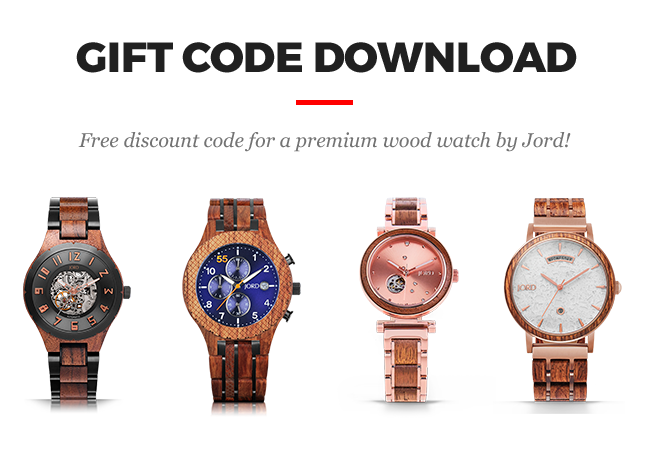 Gift code download. Free discount code for premium watches, handbags and accessories by JORD
