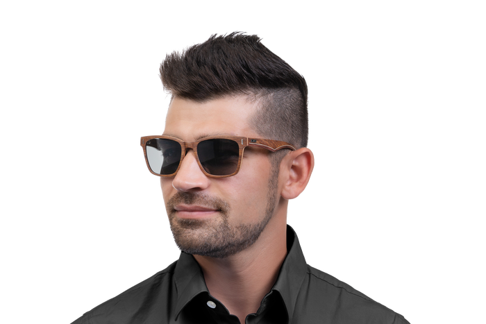 Man wearing JORD Archer - Kosso & Maple sunglasses