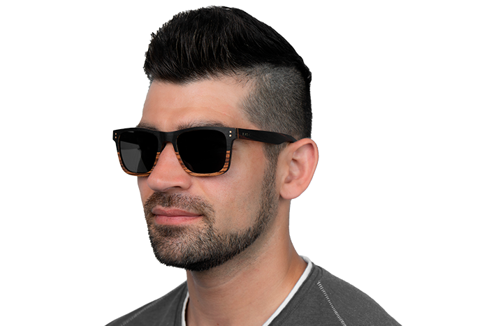 Man wearing JORD Hayden - Ebony & Zebrawood sunglasses
