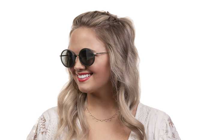 Woman wearing JORD Louie - Ebony & Brushed Gunmetal sunglasses