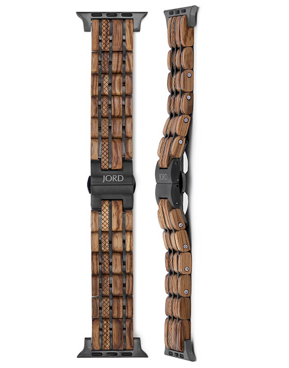 Zebrawood and titanium apple watch band