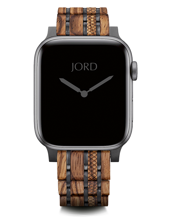 Zebrawood and metal apple watch band