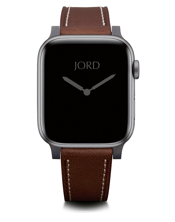 Brown leather apple watch band