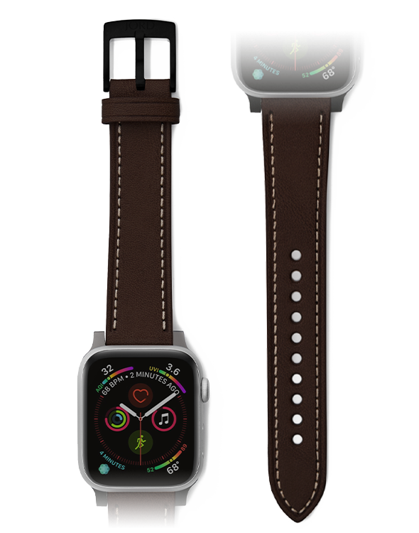 Premium brown leather apple watch band