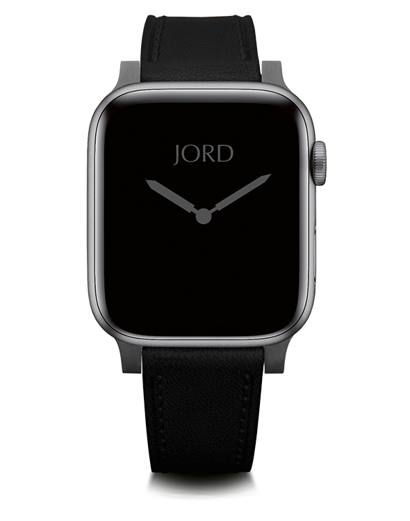 Black leather apple watch band