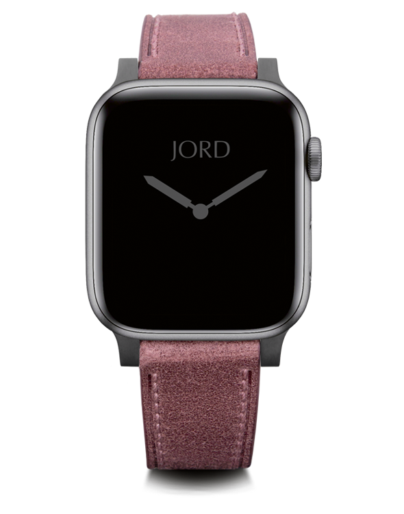 Pink leather apple watch strap