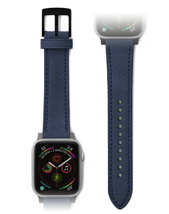 Premium blue apple watch leather strap