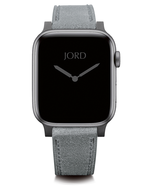 Gray leather apple watch strap