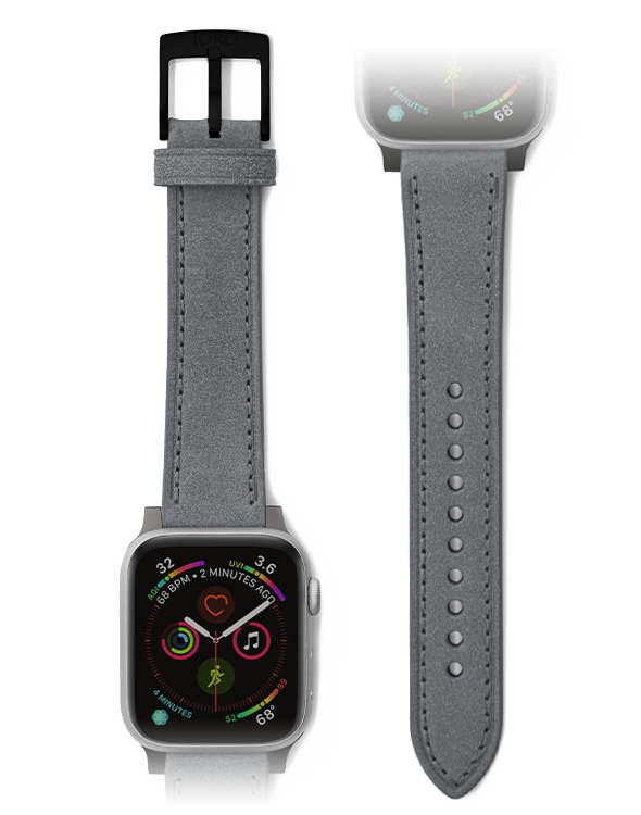 Premium gray leather apple watch strap