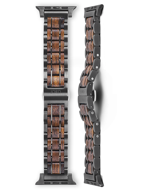 Shedua wood and gunmetal apple watch band
