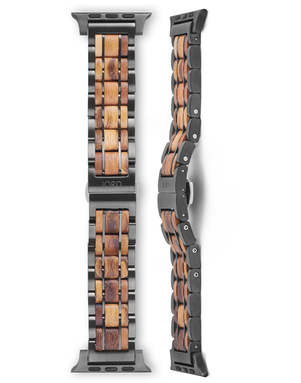 Tigerwood and gunmetal apple watch band