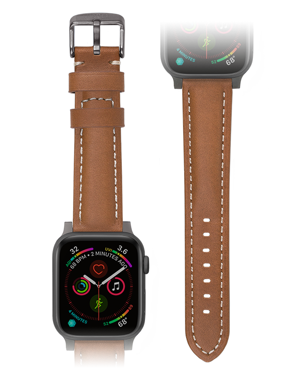 Premium camel apple watch padded leather strap