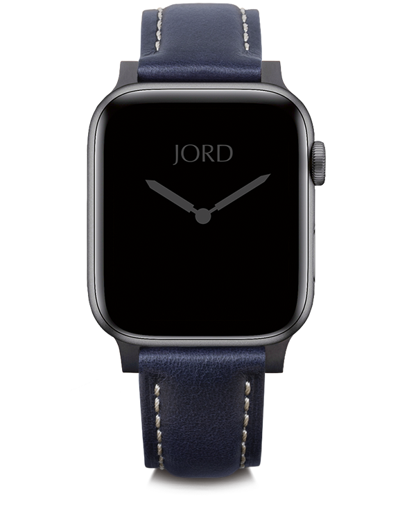 Deep navy blue padded leather apple watch strap