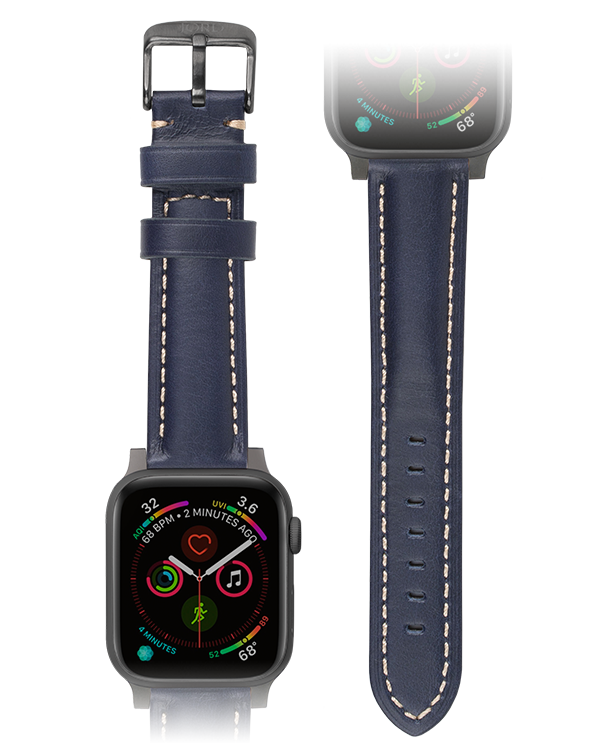 Premium dark blue padded leather apple watch strap
