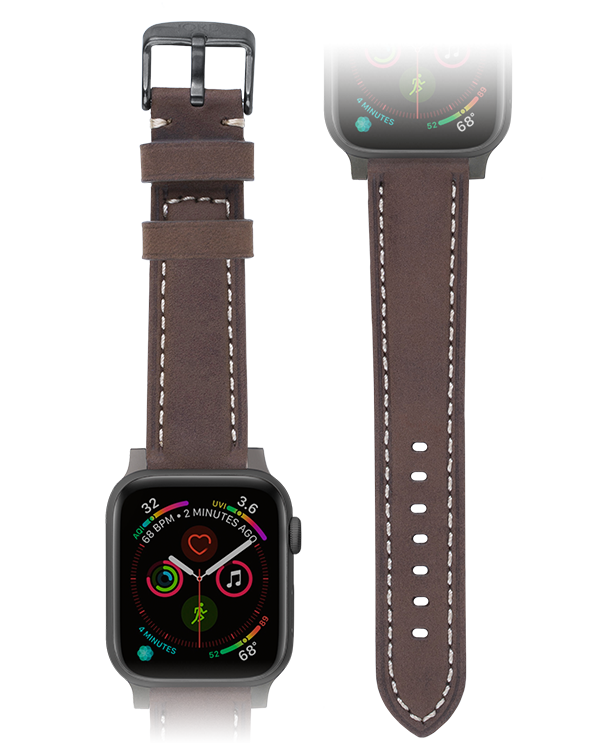 Premium mocha padded leather apple watch strap