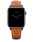 Apple Watch Band - Burnt Orange Padded Leather Silver