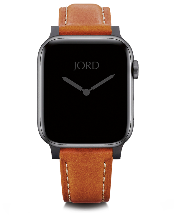 Orange padded leather apple watch band