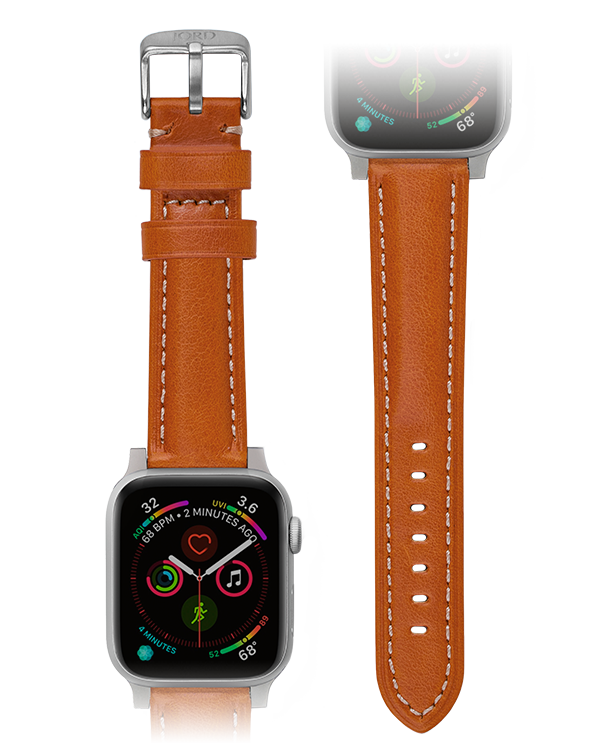 Premium orange padded leather apple watch band