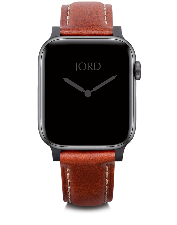 Burgundy padded leather apple watch band