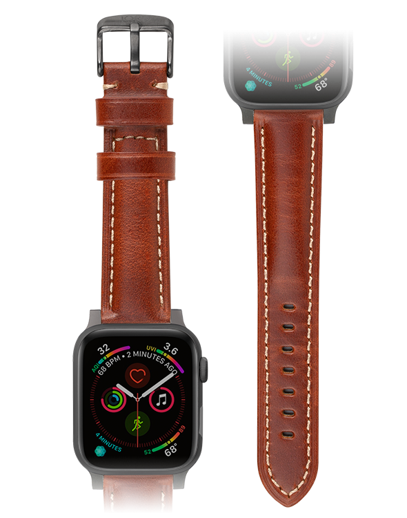 Premium honey brown padded leather apple watch band