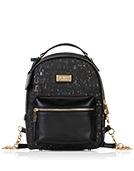 Binca - Textured Black & Gold Zipper Backpack