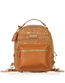 Binca - Natural & Gold Zipper Backpack
