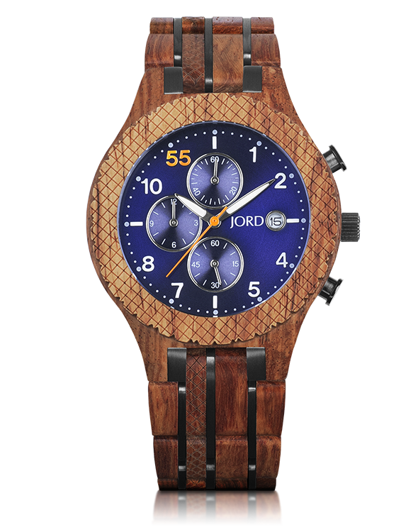 Conway Kosso Amp Midnight Blue Chronograph Wooden Watch By