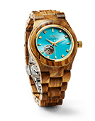 Cora - Zebrawood & Turquoise Wood Watch by JORD