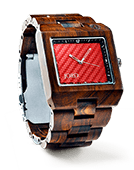 Delmar - Dark Sandalwood & Red Carbon Wood Watch by JORD