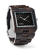 Delmar - Dark Sandalwood & Obsidian Carbon Wood Watch by JORD