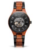 Dover II - Burmese Padauk & Black Steel Wood Watch by JORD