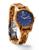 Frankie 35 - Zebrawood & Navy Wood Watch by JORD