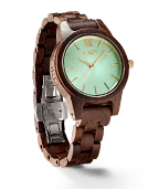 Frankie 35 - Dark Sandalwood & Mint Wood Watch by JORD