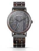 Harper - Grey Leathered Marble & Sandalwood Wood Watch by JORD