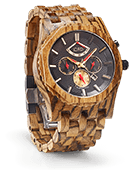 Sawyer - Zebrawood & Obsidian Wood Watch by JORD