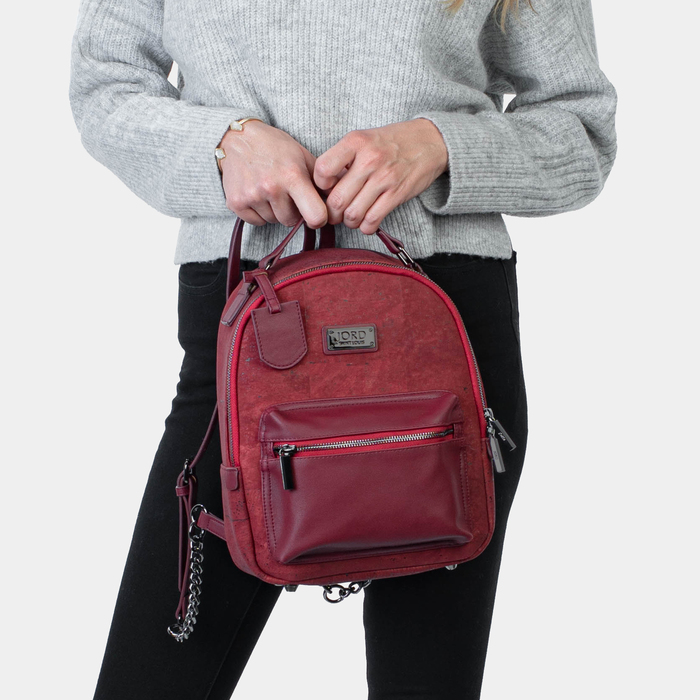 Binca - Eros Red & Gunmetal Zipper Backpack